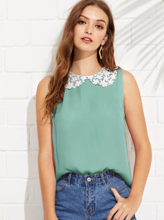 Keyhole Back Guipure Lace Collar Top