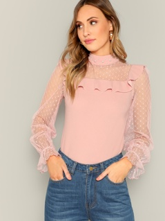Dot Mesh Panel Pearl Detail Ruffle Top