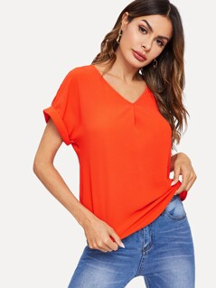 V Neck Curved Hem Solid Top