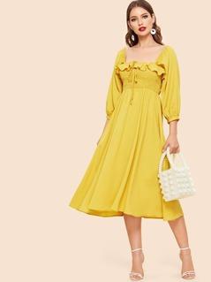70s Ruffle Trim Drawstring Detail Dress