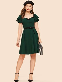 40s Sweetheart Neck Bow Detail Layered Sleeve Belted Dress