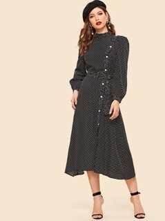 Asymmetrical Breasted Belted Polka Dot Dress