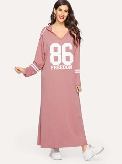 Varsity Print Drawstring Hooded Tunic Dress