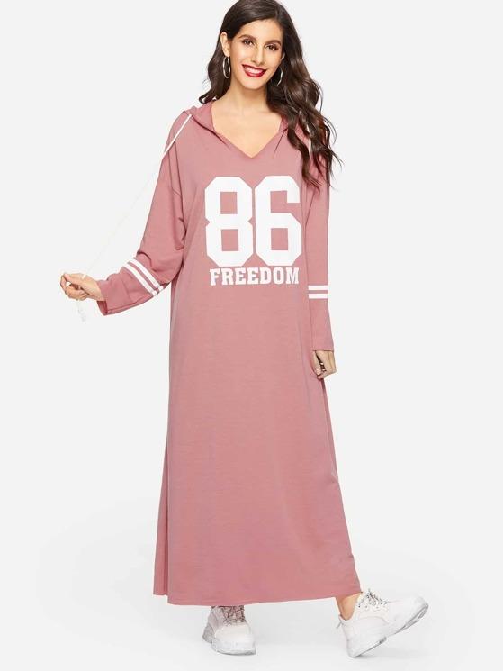 7ba4659391 Varsity Print Maxi Hoodie Sweatshirt Dress