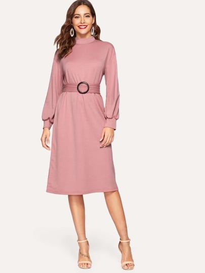 Mock Neck Lantern Sleeve O-ring Belted Dress