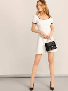 Zip Back Square Neck Ringer Dress