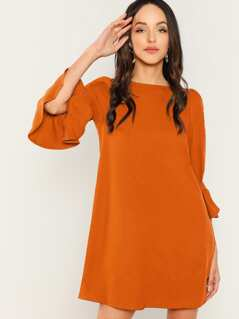 Buttoned Flounce Sleeve Tunic Dress