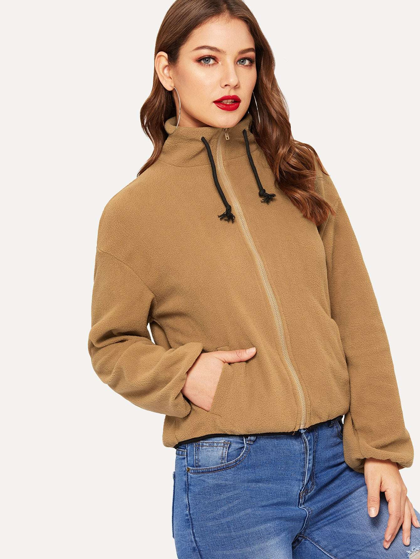 Купить Пушистая куртка на молнии с кулиской, Debi Cruz, SheIn