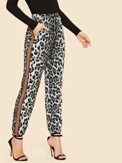 70s Contrast Tape Slant Pocket Leopard Pants
