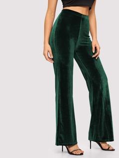 Elastic Waist Solid Velvet Pants
