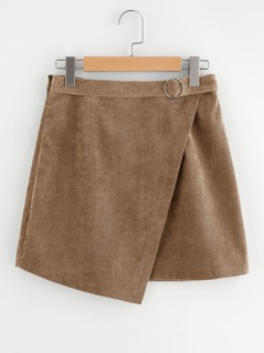 O-ring Belted Overlap Corduroy Skirt