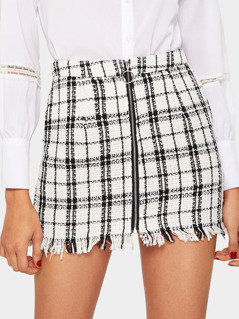 O-ring Zip Front Frayed Edge Tweed Skirt