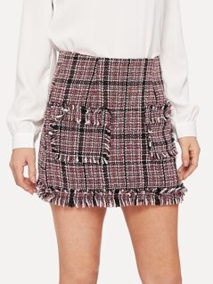 O-ring Zip Back Raw Hem Pocket Patched Tweed Skirt