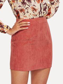 Zip Back Cord Skirt
