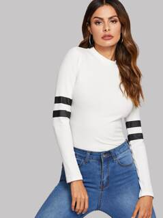 Mock-neck Rib-knit Striped Tee