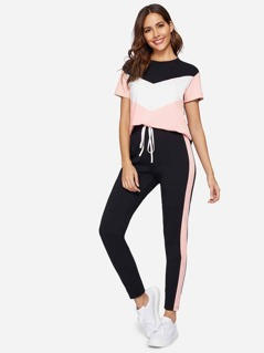 Chevron Tee and Contrast Sideseam Leggings Set
