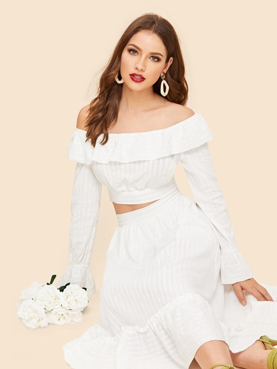 9d7ae2c24e402 70s Off Shoulder Foldover Top   Pleated Skirt Set