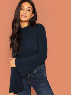 Mock-neck Fluted Sleeve Ribbed Knit Tee