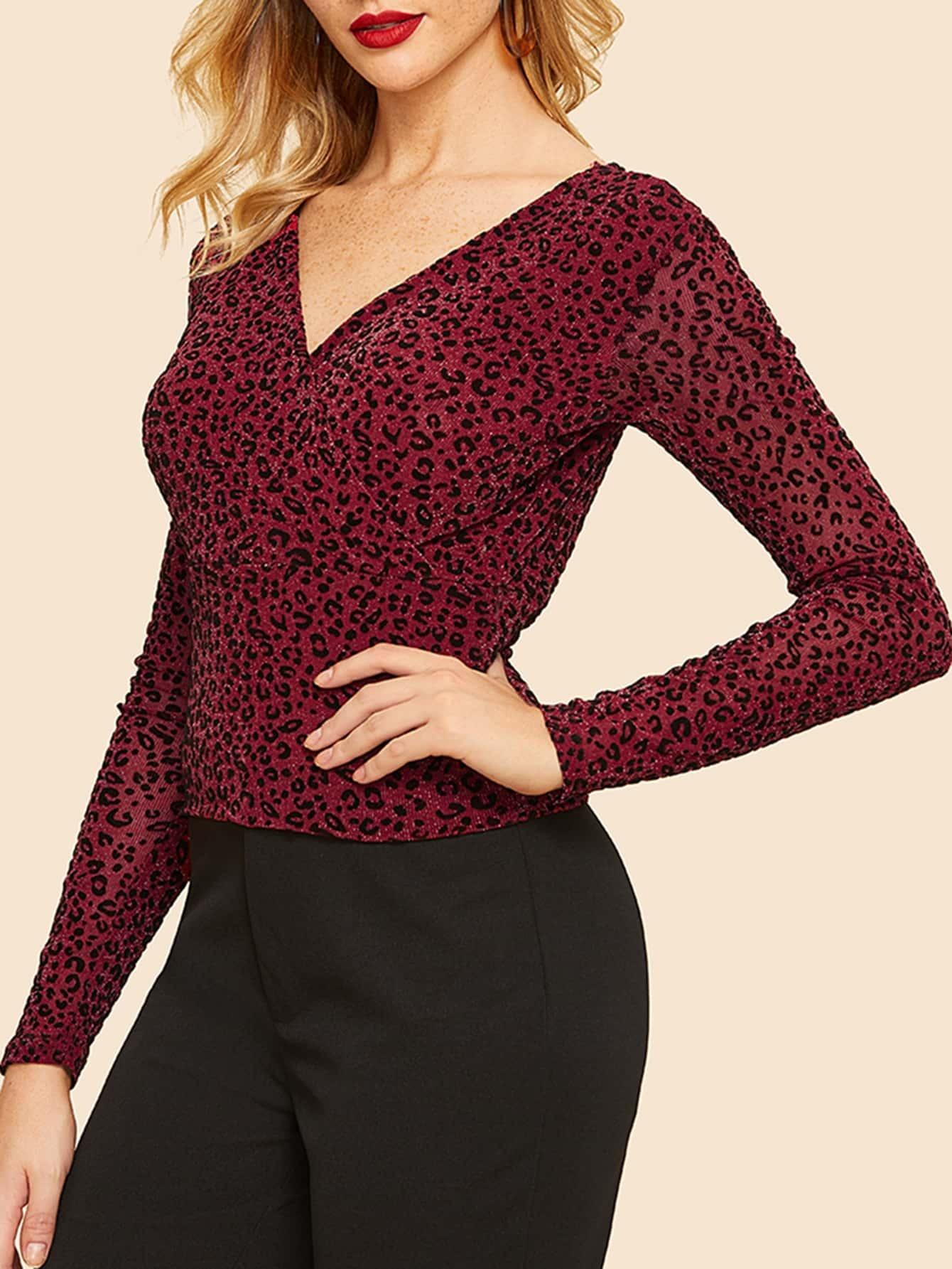 Купить Леопардовая футболка с V-образным вырезом, Nathane, SheIn