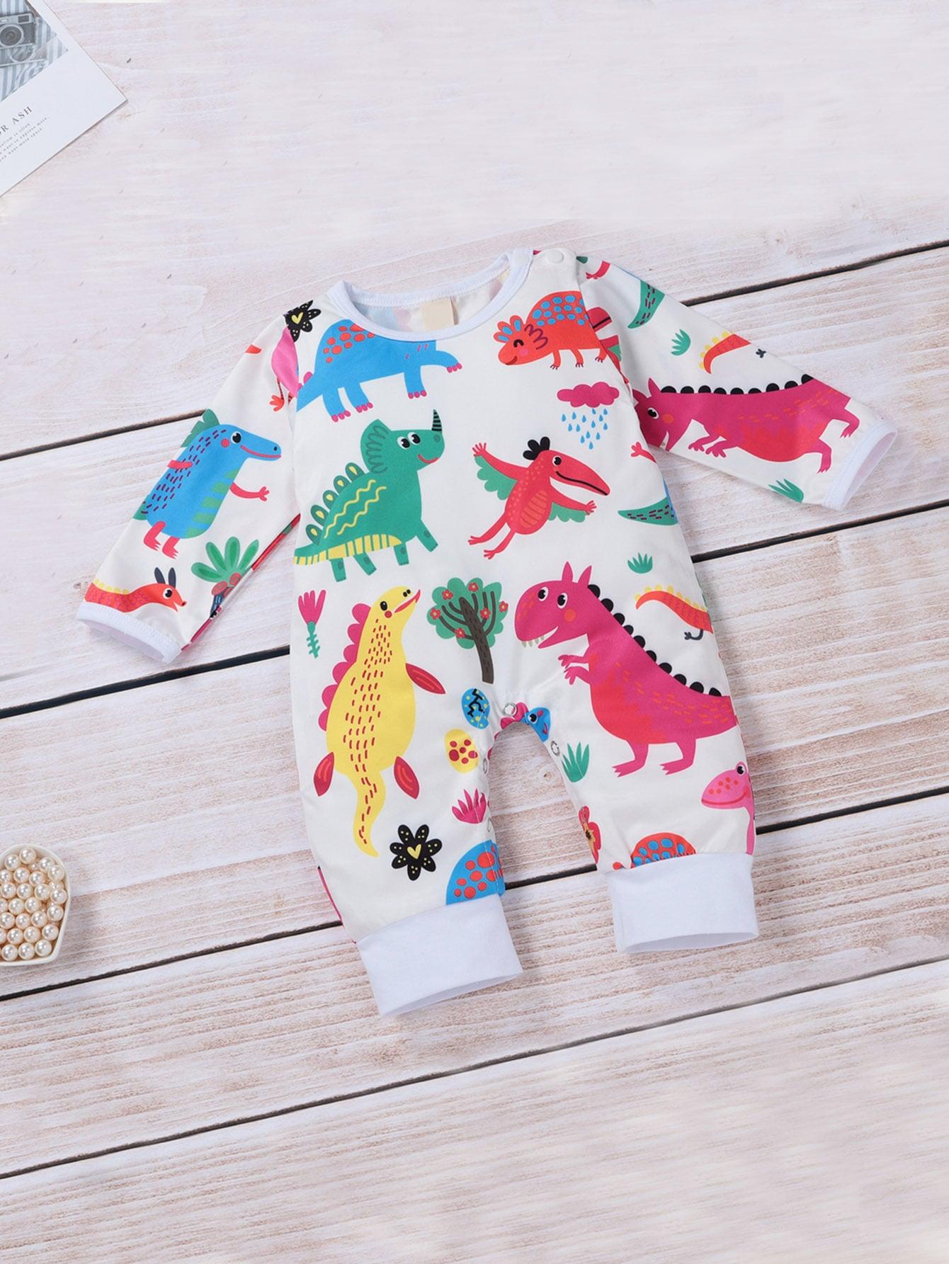 Купить Комбинезон с принтом динозавров для маленьких девочек, null, SheIn
