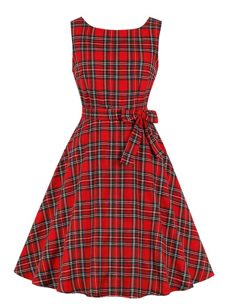 Купить 50s платье в клетку с бантом и V-образным вырезом, null, SheIn