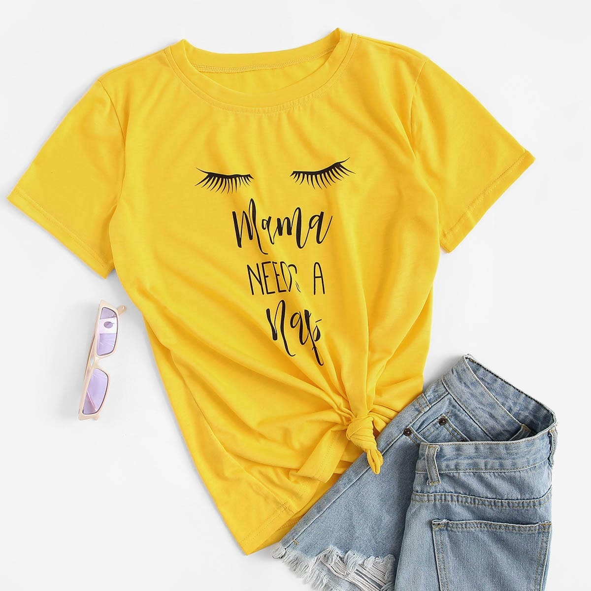 Geel Casual Tekst T-shirts