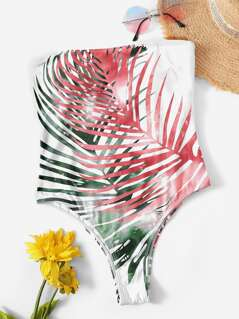Random Palm Leaf Print Bandeau One Piece Swimwear