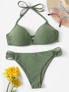 Halterneck Top & Strappy Panty Bikini Set
