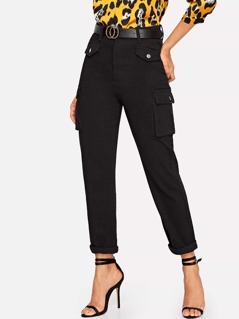 Pocket Patched Rolled Hem Jeans