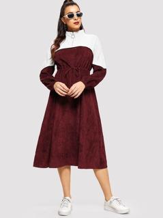 Half Placket Drawstring Waist Two Tone Corduroy Dress