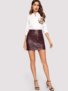 Button Up Pocket Patched PU Leather Skirt