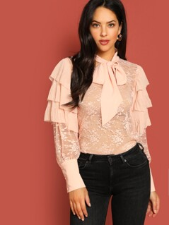 Tie Neck Layered Ruffle Lace Top Without Cami