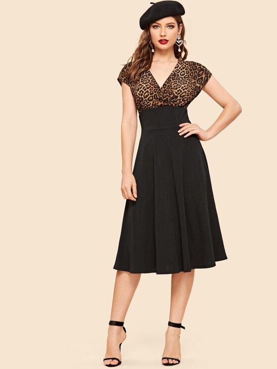 3c4f54f83c 60s Surplice Leopard Bodice Flare Midi Dress | MakeMeChic.COM