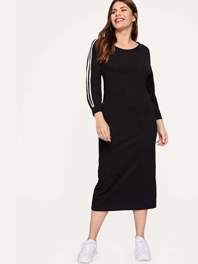 Plus Striped Raglan Sleeve Pencil Dress