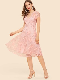 60s Floral Appliques Mesh Overlay Dress