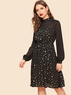Semi Sheer Yoke Allover Star Print Dress