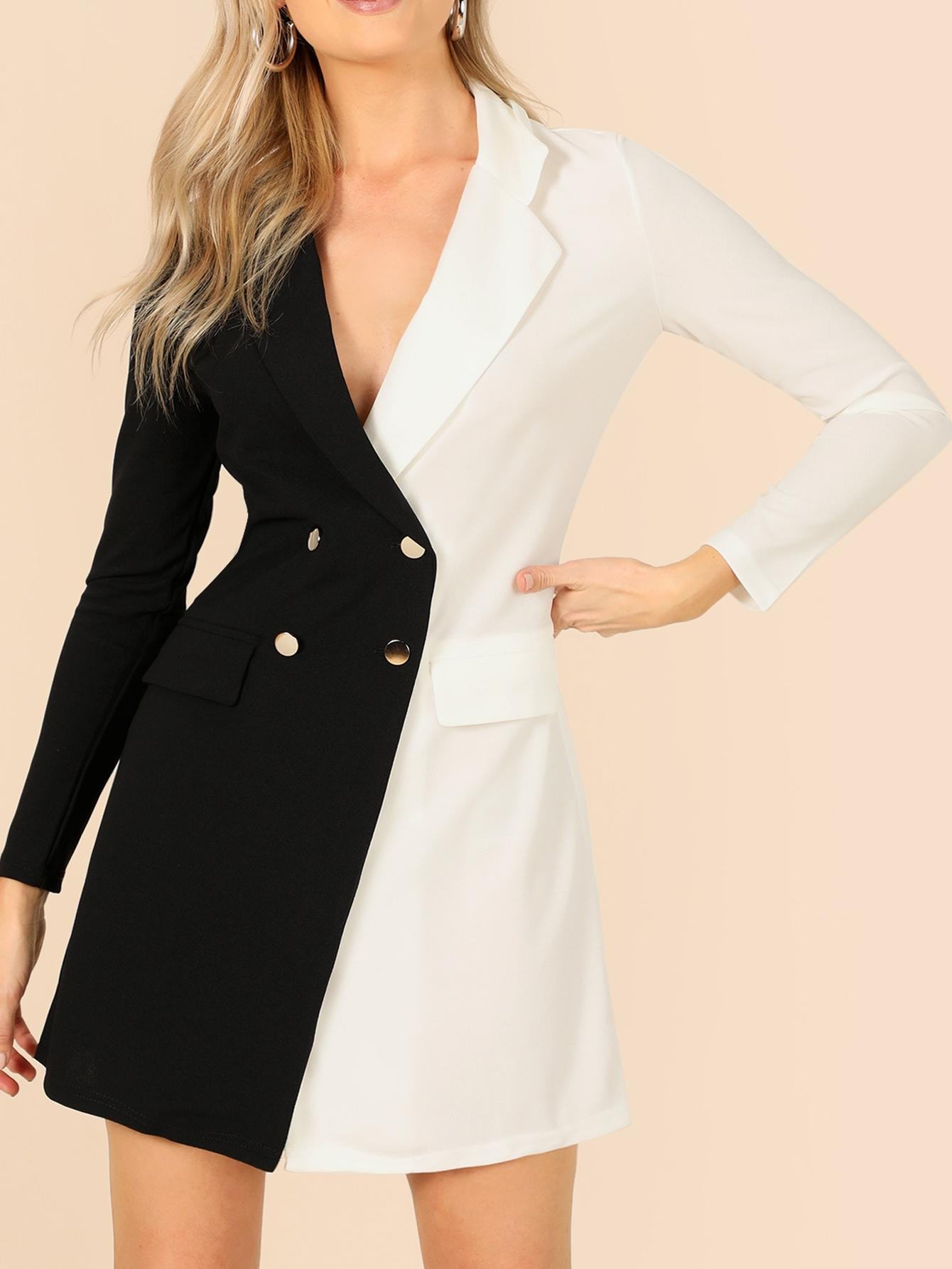 Купить Двухцветное двубортное платье-жакет, Alden Steimle, SheIn