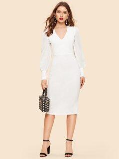 Slit Back Form Fitting Dress
