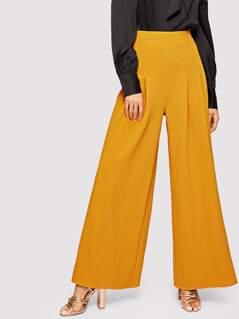 Fold Pleat Wide Leg Pants