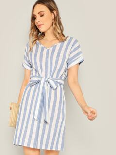 Two Tone Striped Belted Dress