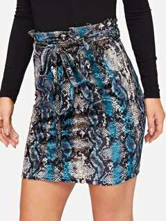 Tie Waist Snake Skin Bodycon Skirt
