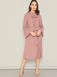 Bell Sleeve Belted Jabot Midi Dress