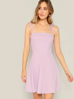 Solid Flare Dress With Knot Cami Strap