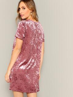 Solid Tunic Velvet Dress
