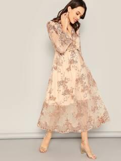 Sequin Flower Surplice Mesh Blouson Midi Dress