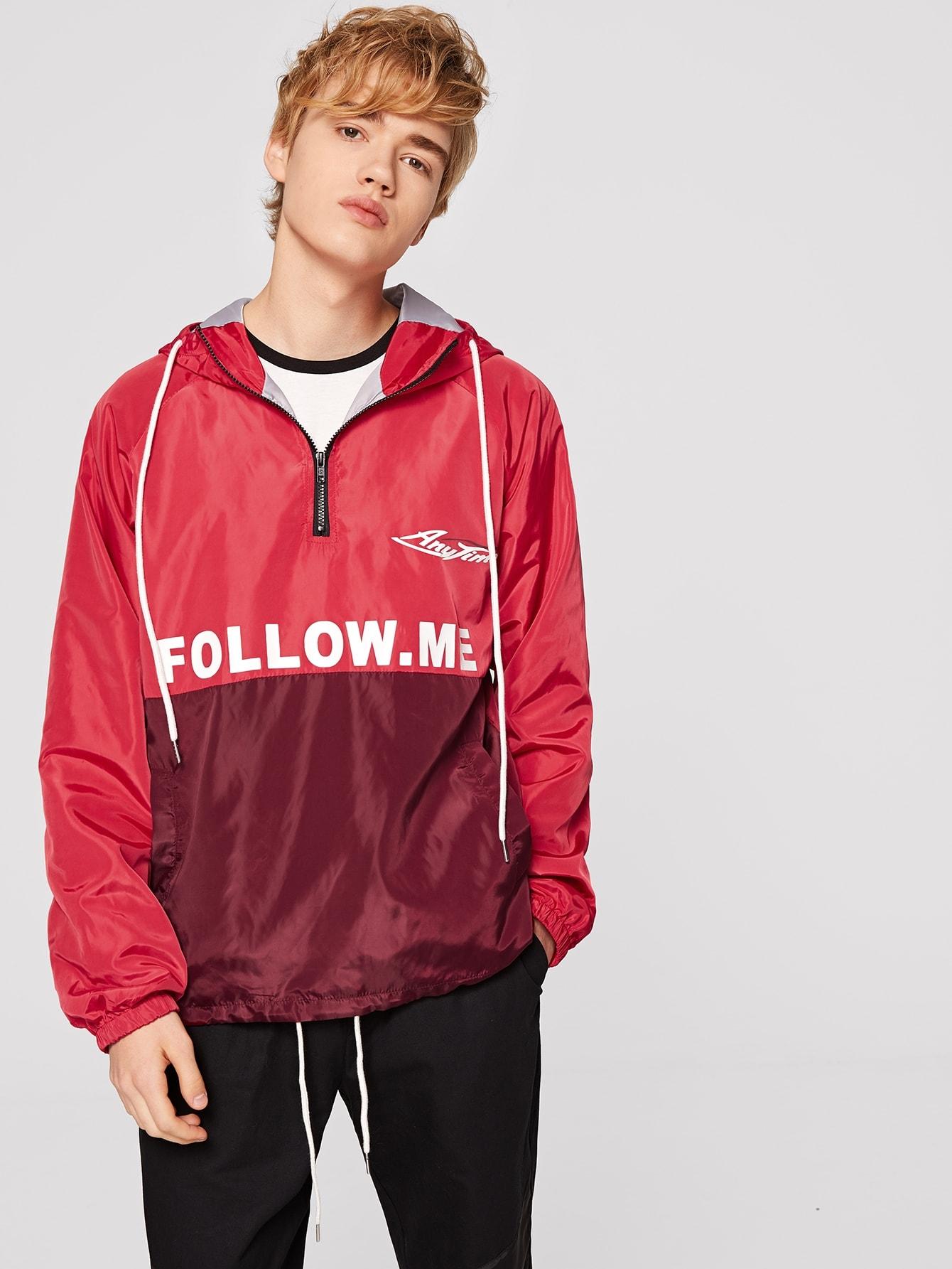 Купить Мужская контрастная куртка на молнии с капюшоном и текстовым принтом, Alex, SheIn