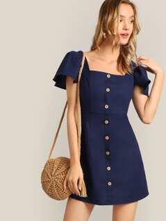 Button Front Flutter Sleeve Tea Dress