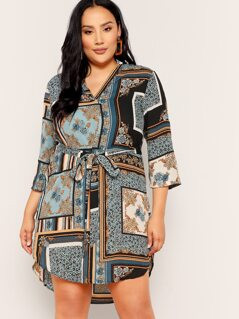 Plus V Neck Curved Hem Scarf Print Belted Dress