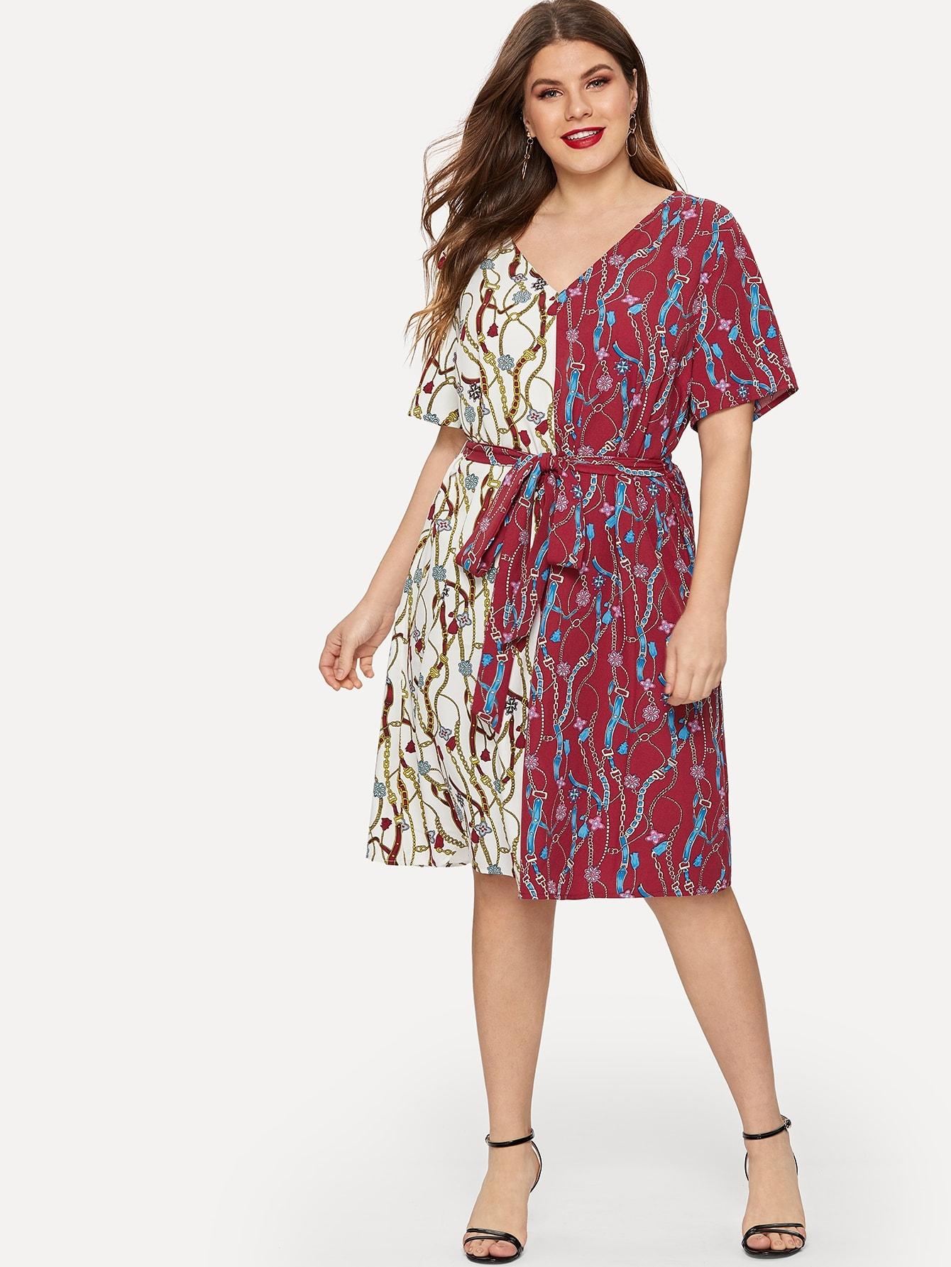 Купить Размер плюс платье с v-образным вырезом и цепным принтом и поясом, Isabela, SheIn