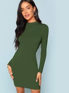 Mock Neck Form Fitting Dress